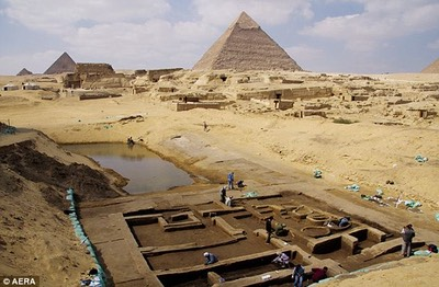 A view on the excavation site near the Giza Pyramids, where the port has been discovered.
