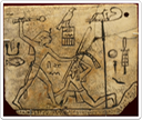 The MacGregor Label, showing Horus Den smiting a foe. The name of Inika is written behind the king.