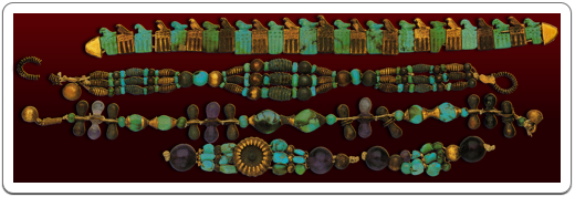Four bracelets were found on a mummified arm inside the tomb of Djer.