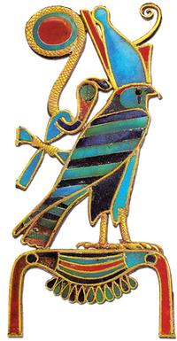 Horus perched on the hieroglyph for 'gold'.
