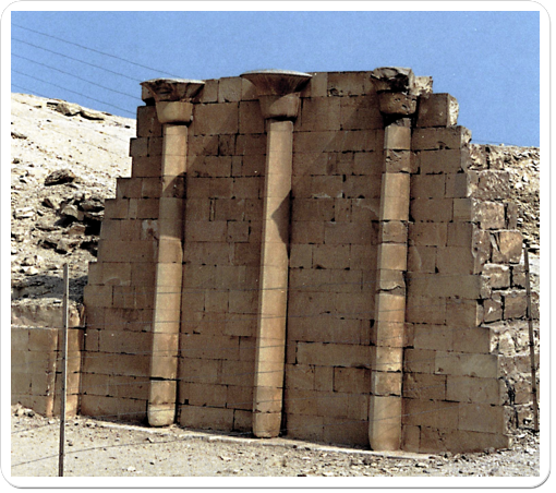 The false columns in the open court of the House of the North have papyrus- shaped capitals, a reference to Lower Egypt.