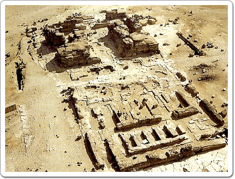 The remains of Khefren's mortuary temple, seen from his pyramid. The distinction between the heavy fore section and the lighter back section is very clear.