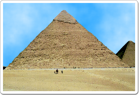 Built on a higher part of the Giza plateau, Khefern's pyramid appears to be the highest pyramid at Giza, while it is actually 3 metres smaller than Kheops'.