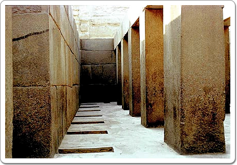 A view inside Khefren's Valley Temple at Giza.