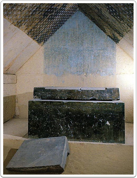 A view inside the burial chamber of Merenre's pyramid.