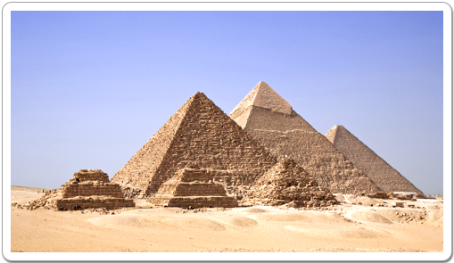 The three Queens' Pyramids in front of the pyramid of Mykerinos at Giza.