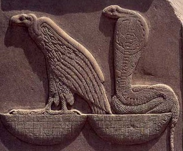 The vulture and the cobra, symbol of the Two Ladies and one of the oldest elements of the royal titulary, signifying unity of Upper and Lower Egypt.