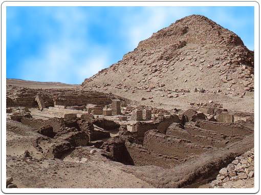 View on Neferirkare's Pyramid looking southwest across the Mortuary Temple of Khentkaus II.