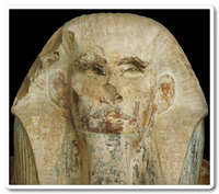 Head of the statue of Horus Netjerikhet found in his funerary complex at Saqqara