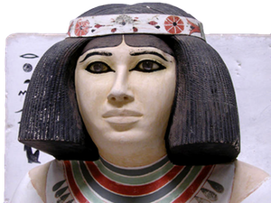 Statue of Nofret, found in the tomb that she shared with her husband Rahotep.