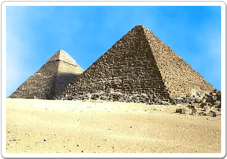 Mykerinos' pyramid at Giza, casting its noon shadow on Khefren's in the background.