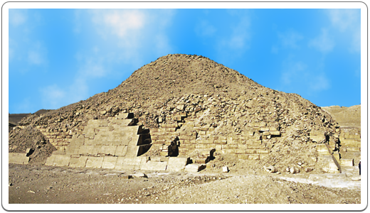 Nothing more than a mount of rubble, with only part of the original encasing limestone blocks, is all that remains of the Pyramid of Unas.
