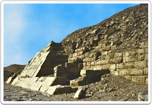 The South face of the pyramid still has some of its original limestone encasing. It is here that an inscription from Khaemwaset was found commemorating his restoration of the pyramid.