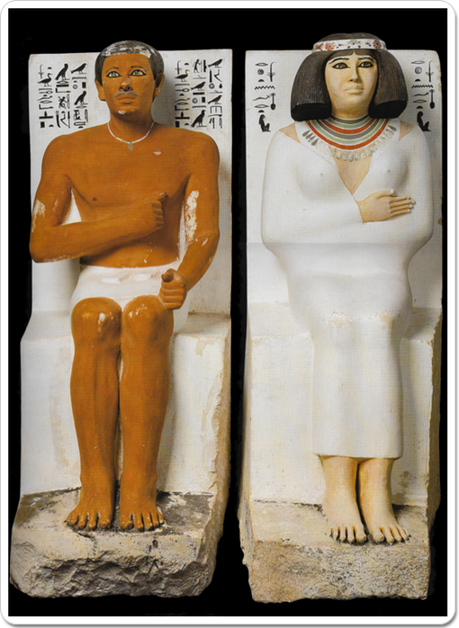 Statues of Rahotep and his wife Nofret, found in their tomb at Meidum.