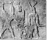 Horus Sekhemkhet striking down a foe
