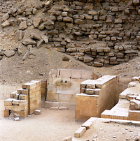 The Serdab was built against the north face of the Step Pyramid.