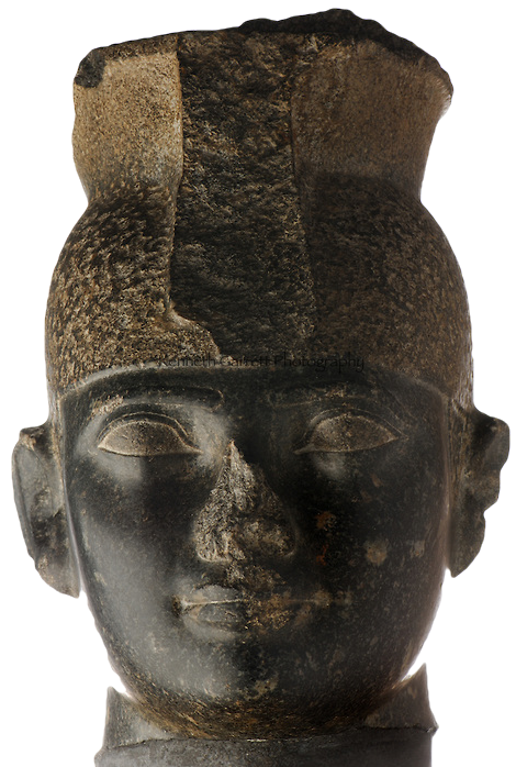 Head of a statue of the Nubian King Taharqa, who ruled Egypt during the 25th Dynasty.