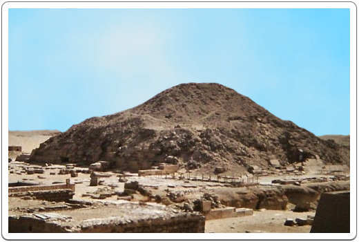 The core masonry of the pyramid collapsed over time when the outer casing was removed over the centuries by stone robbers.