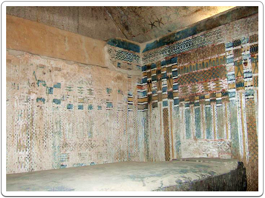 The burial chamber of Unas, showing the nicely decorated walls.