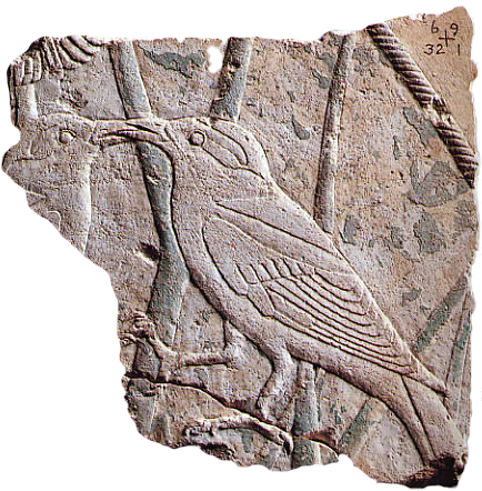 An exquisite relief of two birds is one of the few remaining indications of the decoration of Userkaf's mortuary temple.